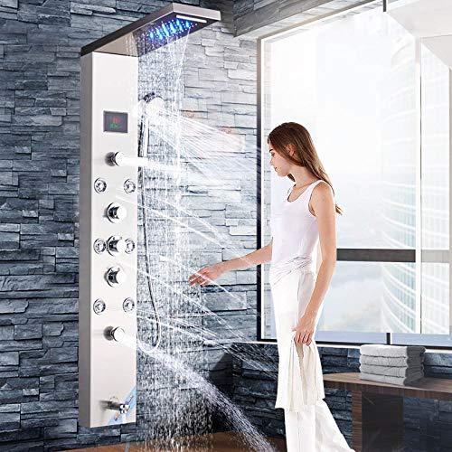 Shower system Nickel gebürstet Badezimmer Regen Wasserfall Mischer Dusche Dusche Panel LED-Licht Massage Jet Messing Badewanne Auslauf,B -