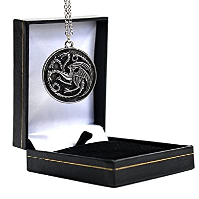 Game of Thrones Necklace - Targaryen Silver Three Headed Dragon Pendant - GOT Jewellery in Gift Box
