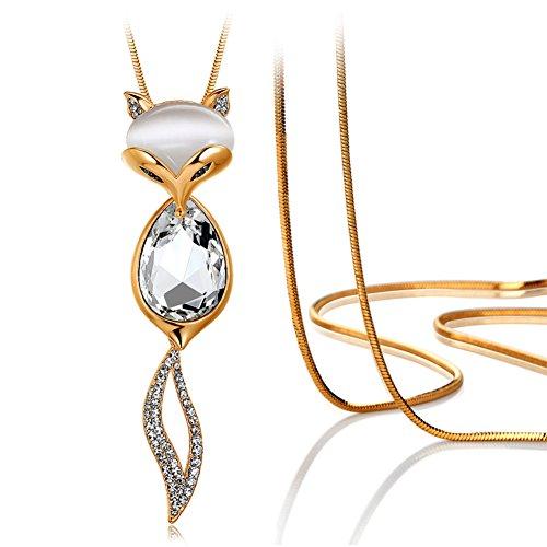 Fox Opal cristallo collana/ maglia a catena lunga/ gioielli di moda-A
