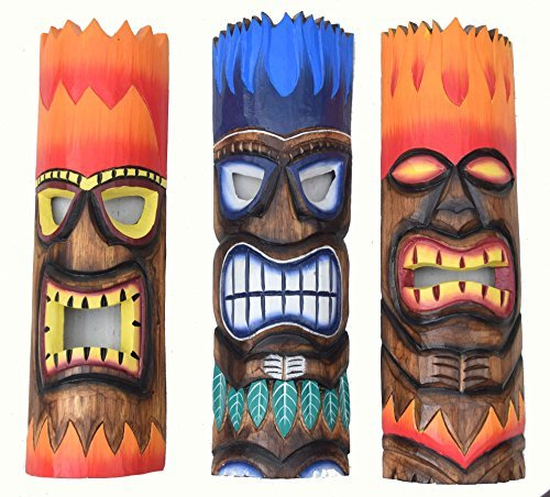 3-piezas-Tiki-FUEGO-Mscaras-50cm-IM-HAWAI-MARES-DEL-SUR-Buscar-Mscara-de-pared