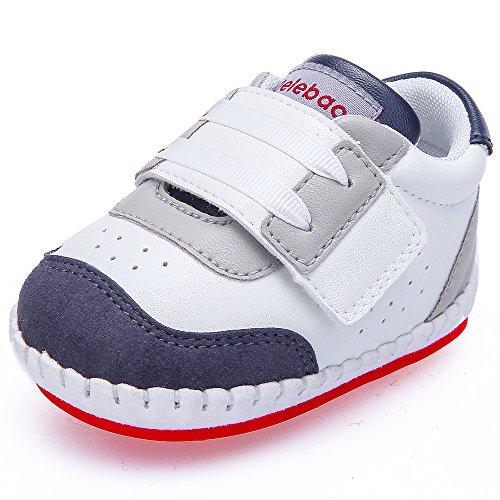 21320a406da762 DELEBAO Babyschuhe Baby Turnschuhe Krabbelschuhe Lederschuhe Baby Schuhe  mit Weicher und Rutschfester Sohle Für Babys Jungen und Mädchen (Black