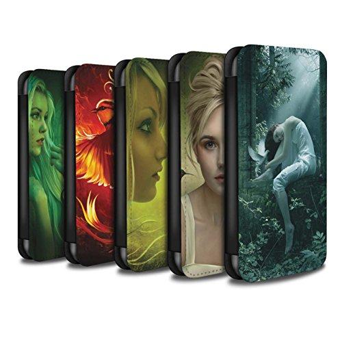 Officiel Elena Dudina Coque/Etui/Housse Cuir PU Case/Cover pour Apple iPhone X/10 / Beau Paon Design / Les Oiseaux Collection Pack 18pcs