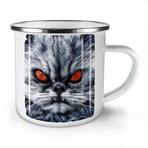 Wellcoda persisch Katze Wütend Komisch Emaille-Becher, Wütend - 10 Unzen-Tasse - Kräftiger, griffiger Griff, Zweiseitiger Druck, Ideal für Camping und Outdoor - Persischen Becher