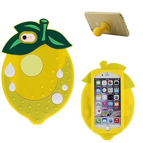 iPhone 7 Coque Étui Anti Choc Joli Rouge Fruit Fraise Désign Populaire Doux Silicone Gel Coque Protection Case pour Apple iPhone 7 4.7 inch avec 1 Silicone Titulaire jaune