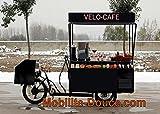 mobilite-douce.com VELO-CAFE2750 BAR-SNACK sur tricycle electrique suspendu, tout equipe (robinet, bacs a glace, systeme de refroidissement, vitrine, etc). Triporteur/trike cargo vente de boissons chaudes et froides, vente à emporter, crêpes, gauffres, avec auvent/canopée et électricité pour les machines