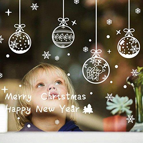 Natale Vetrofanie Adesivi Murali Rimovibile Fai da te Finestra Decorazione Vetrina Wallpaper di neve Christmas Decor Babbo Natale Angelo (A)