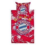 Bettwäsche Biber FC Bayern München FCB + gratis Aufkleber München Forever, Bed Linen, Ropa de cama, draps de Lit