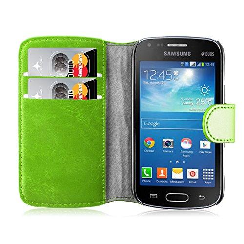 Cover Galaxy Trend Plus, JAMMYLIZARD Custodia Retro Wallet a Libro in Pelle per Samsung Galaxy Trend Plus e Galaxy S Duos 2, VERDE ERBA