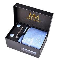 Idea Regalo - MASSI MORINO Uomo Designer Cravatta - Box Set con fazzoletto, Gemelli e Fermacravatta X cucita a mano in microfibra in colori assortiti - confezione regalo (paisley azzurro)