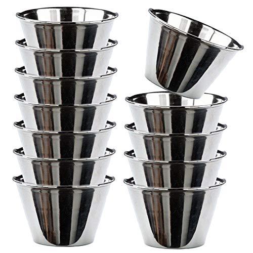 MGE - Individuelle Puddingform - Förmchen für Pudding, Muffins, Cupcakes - Edelstahl - Set mit 12 Stück - Durchmesser 7 cm