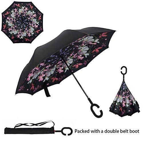 Asiki, ombrello reversibile antivento a doppio strato, pieghevole, con impugnatura a forma di c che lascia libere le mani, blossom