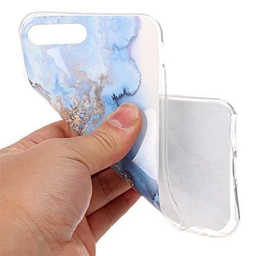 iPhone 7 Plus Hülle Marmor, iPhone 7 Plus Marble Case,iPhone 7 Plus Weich Silikon Handyhülle,Lifetrut Marmor Design Soft Rückseite Stoßstange TPU Gummi Silikon Skin Tasche für iPhone 7 Plus [Grün] E201-Meerblau