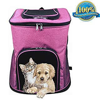 Aoxsen Dog Cat Puppy Pet Carrier Bag Big Pet Backpack Double Shoulder Bag Portable Front Back Airline Travel Approved Pet Carriers Rabbit Cage Breathable Mesh Window Backbag for Traveling, Camping