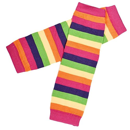 Koly Kids Girls Stripes Rainbow Kneepad Socks Leg Warmer Cotton Leggings (Hot pink)