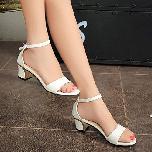 Longra 2018 Vente Chaude Femme Mode Artificielle Couleur Unie Peep Toe Boucle Sangle Haut Talon Chaussures Sandales Blanc