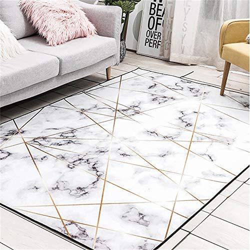 Luofanfei Teppich Wohnzimmer Schlafzimmer Kinderzimmer Flur Modern Geometrisches Muster Design Waschbar Teppich Marmor Optik mit Glanzfasern in Gold Weiß Größe 80x120 cm