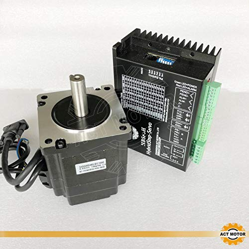 ACT MOTOR GmbH 1PC Nema34 Step-Servo Motor 34SSM8460-EC1000 6A 5Nm Closed-Loop+1PC HBS86H Closed Loop Stepper Driver CNC (Motor-servo-cnc)