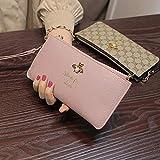 XIGUAQB Women's Wallet Geldbörse Lange Handtasche Buffalo Zipper Wallet Card Wallet Mobile Bag, Pink