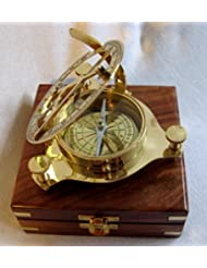 Sonnenuhr- Kompass in Holzschatulle 14x 14 cm- Gesamtgewicht 490 g