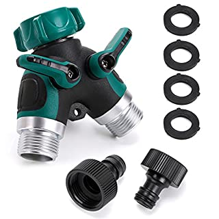 IGNPION 3/4 Inch Tap Splitter Hose Connector with Individual On/Off Valves, Outdoor Utility Garden Hose Connector, Tap Adaptor with 2 Connectors and 4 Rubber Washers (2 Way)