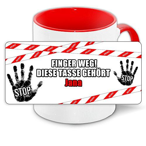 Büro-Tasse mit Namen Jana und schönem Motiv - Nr. 2 - Finger weg , diese Tasse gehört ... , Farbe: rot 4