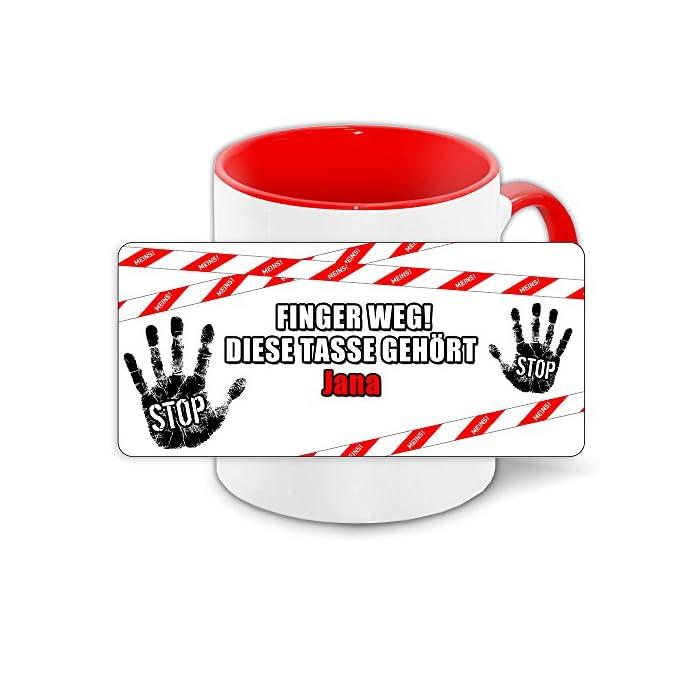 Büro-Tasse mit Namen Jana und schönem Motiv - Nr. 2 - Finger weg, diese Tasse gehört, Farbe: rot