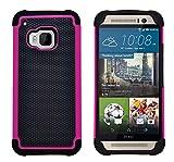 G-Shield Hülle für HTC M9 Stoßfest Schutzhülle Silikon Hybrid Armor Handyhülle mit Displayschutzfolie und Stylus - Rosa