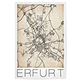 artboxONE Poster 60x40 cm Städte Erfurt Retro Map Germany