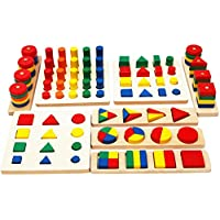 TOWO Wooden Geometric Shapes Stacking Rings and Fractions Boards 8 in 1 set Puzzles- Shape Sorter Toy Stacking Game - Montessori Materials Educational Learning Toys for 3 4 5 6 years old