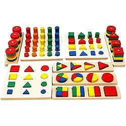 Toys of Wood Oxford Figuras geométricas de Madera y Formas de fracciones - Juego de Figuras geométricas para Aprender matemáticas, Aprender Colores y Formas - Juguete Educativo de Madera para niños