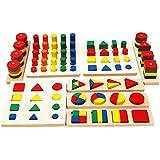 Toys of Wood Oxford Formas geométricas de madera y Junta fracciones - juguetes niños 3 años educativos