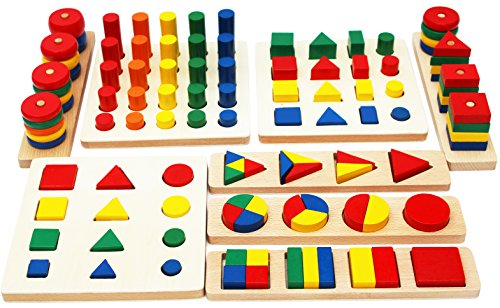 Toys of Wood Oxford Wooden Geometric Figures and Fractal Shapes - Geometric Figures Game to Learn Mathematics, Learn Colors and Shapes - Wooden Educational Toy for Children