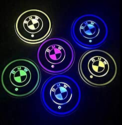 GUANGGU LED Car Logo Cup Holder Pad 7 Colors Changing USB Charging Mat LED Cup Mat Car Atmosphere Lamp Decoration Lights 2PCS (for BMW)