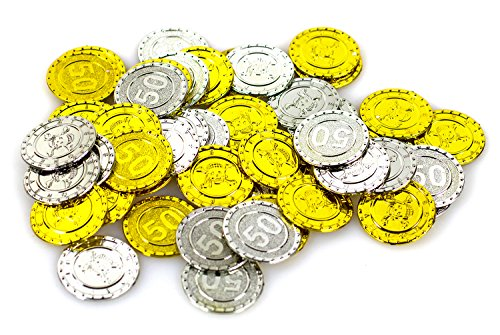 Piraten Goldmünzen 50 Stück gold und silber glitzernd Seeräuber Kostüm Schatzkiste Geld Taler Münzen Geldmünzen ()