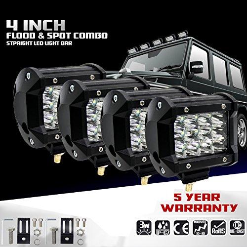 KaTur 4Inch 36W LED Light Bar Punkt-Lichtstrahl 5500LM Offroad Nebelscheinwerfer LED Fahr Arbeits-Lampe für LKW-Pickup Jeep suv atv Utv 12V 24V Auto-Tageslauf treibende Lichter Wasserdicht 4-Pack