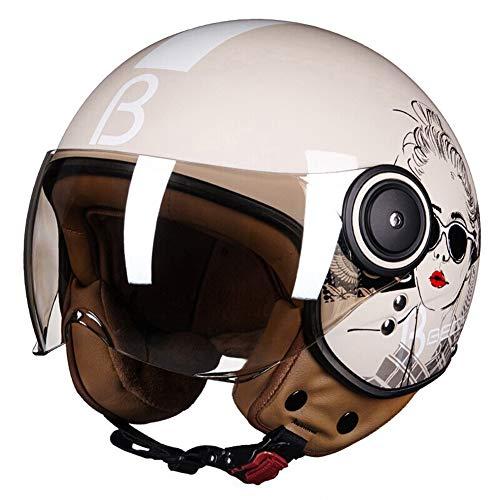 LYJNBB Halber Motorradhelm für Damen, offenes Gesicht Vintage Harley Helme mit Brille Schnellverschluss für Cruiser Scooter ECE Approved weiß,Natural,M