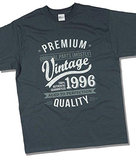 1996 Vintage Year - Aged To Perfection - Regalo di Compleanno Per 21 Anni Maglietta da Uomo Grigio Antracite