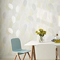 AdorabPaper Contact Paper Wallpaper Nordic Simple Modern Leaves Abstract Wall Sticker Bedroom Living Room Full Shop Walkway Cream Color 53X950CM(20.8inches X 374inches)