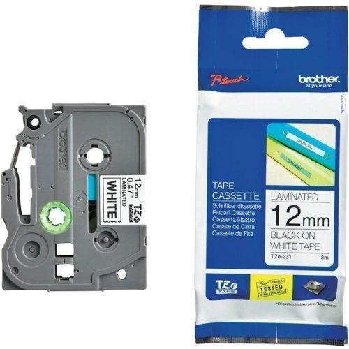 Beschriftungsband für Brother P-Touch 1010, Schwarz auf Weiss, 12 mm, Schriftband-Kassette für PTouch 1010, 12mm breit, 8mtr.