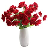 Calcifer 20Pcs 53cm Seide Mais Mohn Künstliche Poppy Blumen für Home Garten Hochzeit Party Dekoration Brautschmuck Brautjungfer Blumensträuße Rot