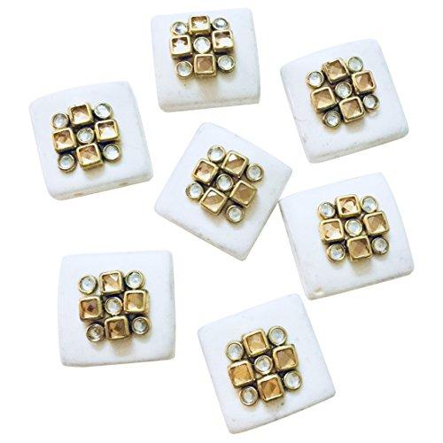Eerafashionicing Latest Designer Square White Buttons for Women's Kurtis