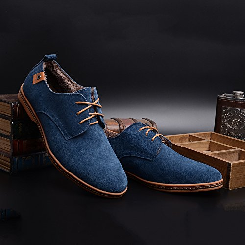 Aardimi Mens Lace-up Shoes Casual Shoes New Spring Men Flats Lace Up Uomo Scamosciato In Pelle Scamosciata Uomo Scarpe In Pelle (produttore Tabella Delle Taglie Nella Foto Nota) Blu 2