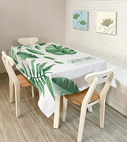 Shuangklei Wasserdichte Tischdecke, Nordische Minimalistische Grüne Blatttischdecke, Weihnachtsdekorationstischdecke, Stofftischdecke, 150X210Cm