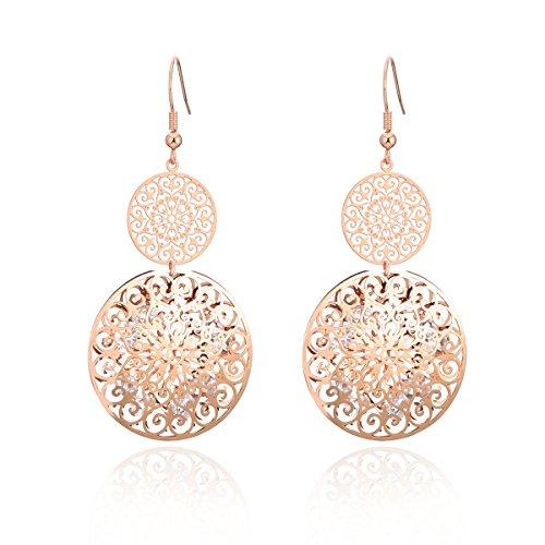 Orecchino a pendente per donna, orecchino a goccia cava con inserto in oro o argento di cristallo con strass (Oro rosa)