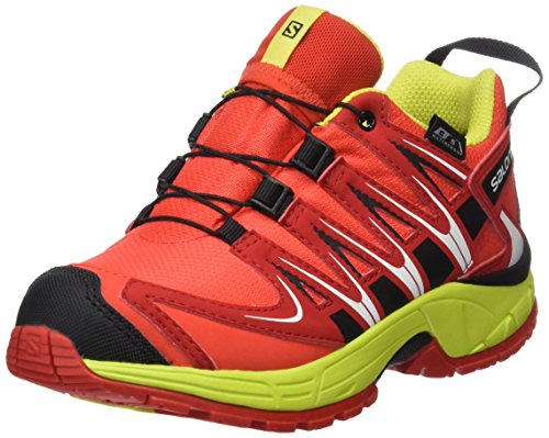 Salomon Kinder XA Pro 3D CSWP Trailrunning/Outdoor-Schuhe, Rot (Fiery Red/Sulphur Spring/Black), Gr. 31
