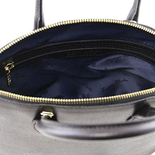 Tuscany Leather TL KeyLuck Borsa shopper in pelle Saffiano - Misura piccola Nude Nero