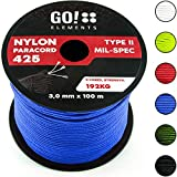 GO!elements 100m Paracord Seil aus reißfestem Nylon - 3mm Paracord 425 Typ II max. 192kg - Schnüre als Outdoor Seil, Allzweckseil, Survival Seil, Armband, Hundeleine, Nylonschnur, Farbe:Blau