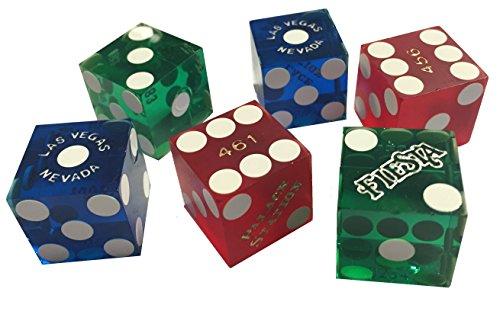6Las Vegas Casino Craps, Würfel, ein Paar rot, blau und grün (6sterben/3Paar)
