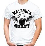 Mallorca University T-Shirt | Männer | Herren | Party | Urlaub | Sauf | Disco | Laune | Palma de Mallorca | Ballermann | Saufen | Kult (M, Weiß)