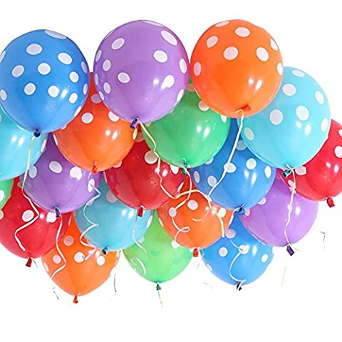 Aiernuo 12 Inches Polka Dot Balloons Latex Big Party Balloon Bright Festive Assorted Colours Pack of 100